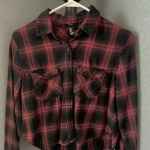 Burgundy and black cropped flannel